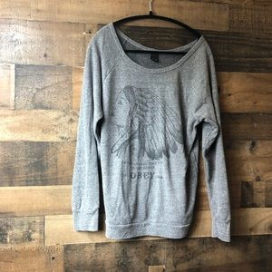 Obey Indian Head Dark Grey & Black Sweater
